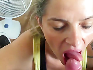 A Blonde Slut Is Doing A Blow Job